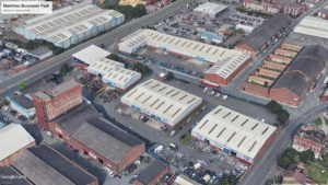 Maritime Enterprise Park in Bootle, Liverpool. Aerial